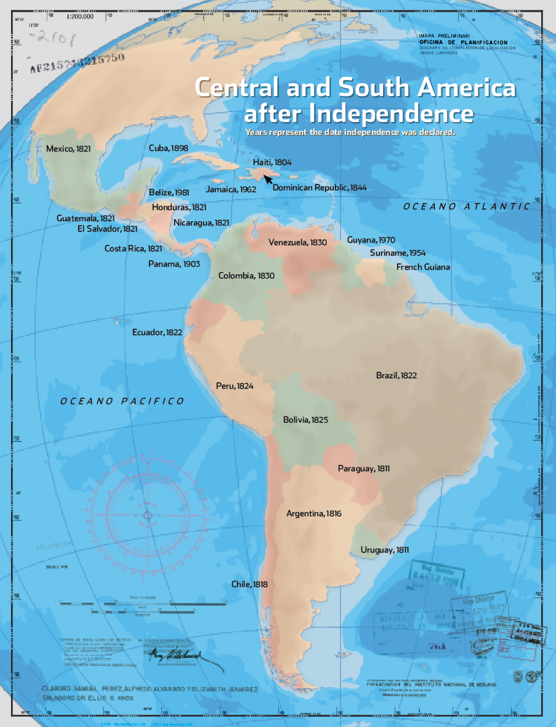 Map Of South America Jamaica.Central And South America 20th Century Map Christian History Magazine