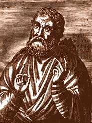 Justin Martyr from a 16th-century woodcut