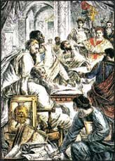 Constantine at the Council of Nicea.